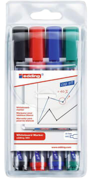 Whiteboardpenn Edding 4 farger 1,5-3mm