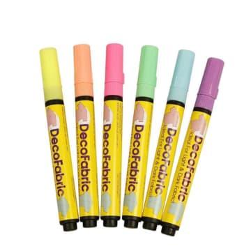Deco tekstiltusj, 3mm strek, 6 ass, neonfarger