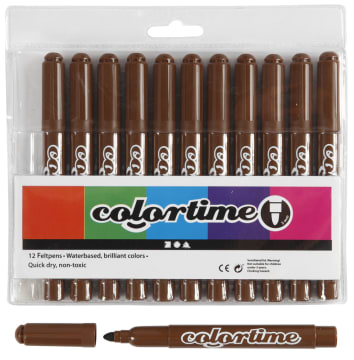 Colortime Tusj, 5mm strek, 12stk, brun