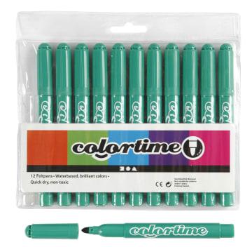 Colortime Tusj, 5mm strek, 12stk, klar grønn