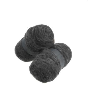 Kardet ull, 2x100 g, naturgrå