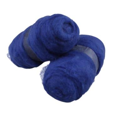 Kardet ull, 2x100 g, kongeblå