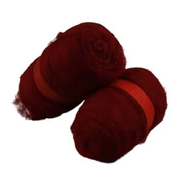 Kardet ull, 2x100 g, varm rød