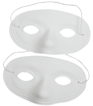 Halvmaske i plast m/ strikk, 12stk.