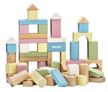 Byggeklosser i tre, pastellfarger. 60 deler (Utgått)