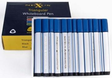 Whiteboardpenn m/trekantgrep blå, 10 stk
