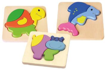 Blokkpuslespill dyr, sett med 3 stk