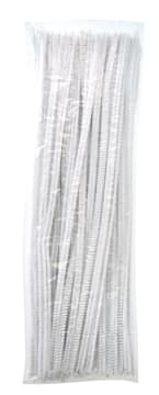 Piperensere Ø6mm, 30 cm. Hvit. 100 stk.