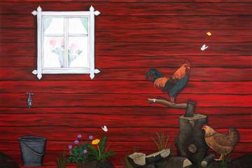 Læringsmotiv, Hus ute (180 x 120 cm)