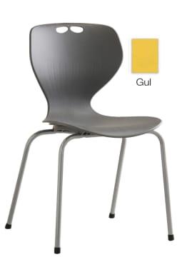 Rio stol, gul m/grått understell. Sittehøyde 45 cm