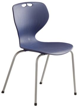 Rio stol, blå m/grått understell. Sittehøyde 45 cm