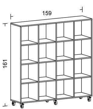 Kubusreol uten bakplate, 16 rom (4x4)