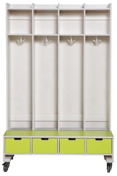 Helena garderobe, frittstående med hjul. 10 plasser