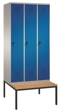 Garderobeskap 3 søyler m/ benk  B-H-D 900x2090x500/815 mm.