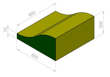 Kile bølge 60x60x30/7 cm.  PU-25KG