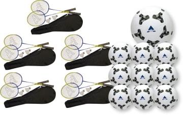 Badminton Racket 5 sett  og 10 stk. baller