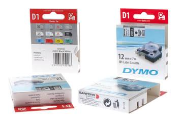 Dymo D1 tape hvit/rød