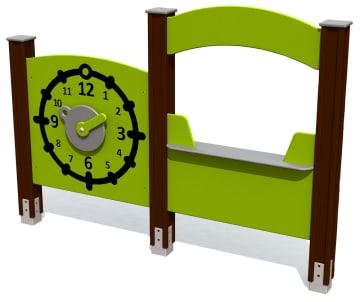 Aktivitetsvegg, klokke og kiosk. Vedlikeholdsfritt