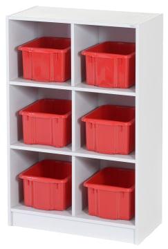 Oppbevaringsreol med 6 kasser