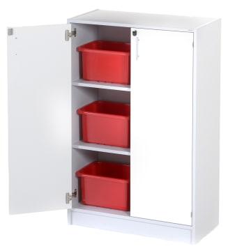 Oppbevaringsskap med 2 dører og 6 kasser.