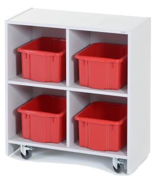 Oppbevaringsreol med hjul og 4 kasser.