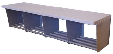 Vegghengt garderobebenk med skorist, 4 plasser (Stål)