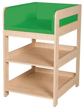 Lite stellebord med grønn madrass