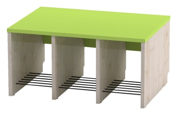Trio garderobebenk, 3 plasser. Grønn, sittehøyde 26 cm