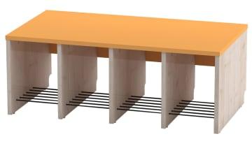 Trio garderobebenk, 4 plasser. Oransje, sittehøyde 31 cm