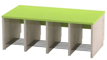 Trio garderobebenk, 4 plasser. Grønn, sittehøyde 31 cm