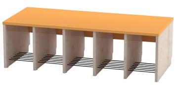Trio garderobebenk, 5 plasser. Oransje, sittehøyde 31 cm