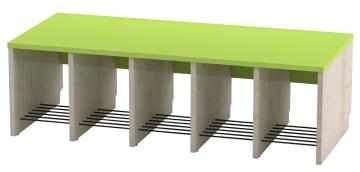 Trio garderobebenk, 5 plasser. Grønn, sittehøyde 31 cm