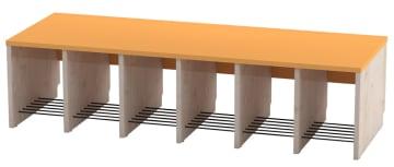 Trio garderobebenk, 6 plasser. Oransje, sittehøyde 31 cm