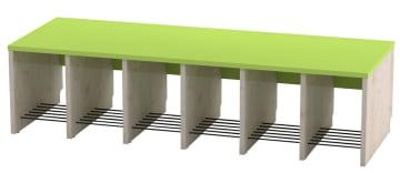 Trio garderobebenk, 6 plasser. Grønn, sittehøyde 31 cm
