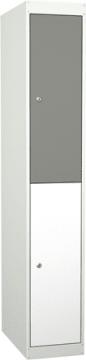 Garderobe i stål, med 2 rom og dører. 30 cm, skrått tak/ben