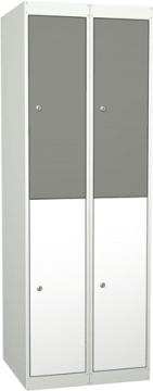 Garderobe i stål, 4 rom m/dør. 60 cm, rett tak