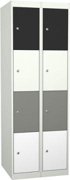 Garderobe i stål, 8 rom. 60 cm, rett tak/bein