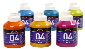 A-Color glittermaling, 6x500 ml.