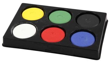 Vannfarge i palett, D:44mm, H:16mm, 6 ass, primærfarger