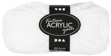 Fantasia Akrylgarn, L:80 m, 50 g, hvit