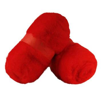 Kardet ull, 2x100 g, rød