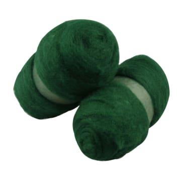 Kardet ull, 2x100 g, grønn