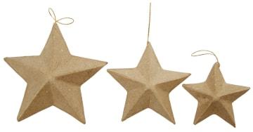 Stjerner, D:7,5-10-12,5cm, 6 ass.