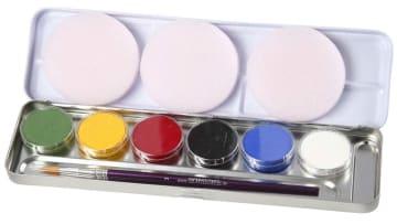 Ansiktsmaling - Sminkepalett, 6 farger, ass. Farger