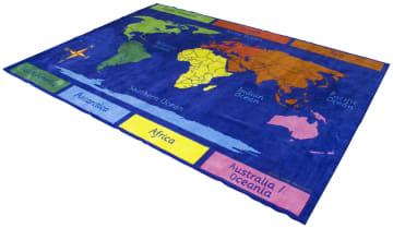 Rektangulært teppe 3 x 2 m, verdenskartet