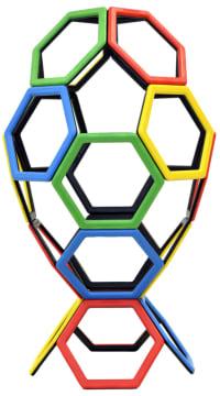 Magnetisk Polydron, sett med sekskanter, 20 deler