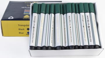 Whiteboardpenn m/trekantgrep grønn, 10 stk