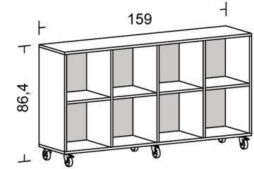 Kubus reol med bakplate 8 rum