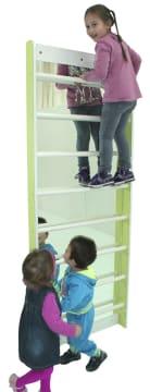 Ribbevegg med speil, 150 cm