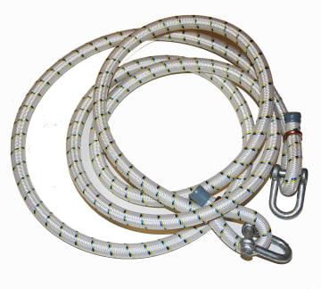 Gummikabel m/2 stk. sjakler  Ø10 x 1800 mm. Til opphenging.